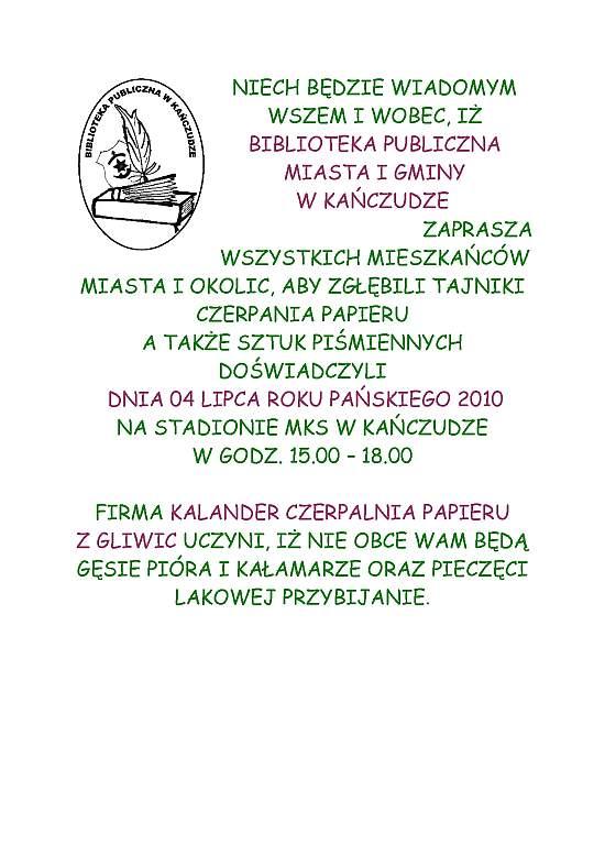 Zaproszenie Aktualności Urząd Miasta I Gminy W Kańczudze